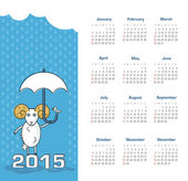 Calendar 2015 year with sheep — Vector de stock