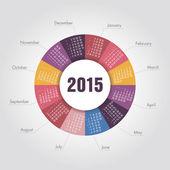 Calendario año 2015 forma redonda — Vector de stock