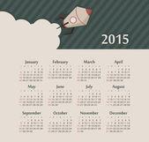 Calendar 2015 year with rocket — Stock Vector