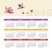 Calendar 2015 year with birds — Stock Vector