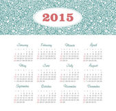 Calendar 2015 year with decorative pattern — Stock Vector