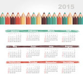 Calendar 2015 year with colored pencils — Stock Vector