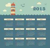 Marine calendar 2015 year with lighthouse — Stock Vector
