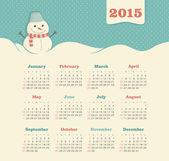 Calendar 2015 year with snowman — Stock Vector