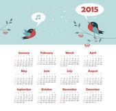 Calendar 2015 year with singing birds — Stock Vector