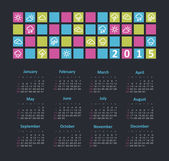 Calendar 2015 year with weather icons — Stock Vector