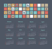 Calendar 2015 year with travel icons — Stock Vector