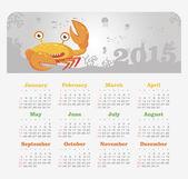 Calendar 2015 year with crab — Stock Vector