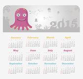 Calendar 2015 year with octopus — Stock Vector
