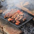 Sausages and meat on a roasting pan — Stock Photo #26822297