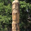 Carved wooden pagan idol — Stock Photo