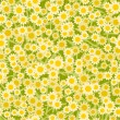 Yellow white flowers seamless background pattern — Векторная иллюстрация