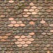 Stock Photo: Seamless red old roof tiles repaired texture