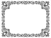 Calligraphy penmanship curly baroque frame black — Stock Vector