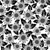Sunflower flower black isolated seamless — Stock Vector