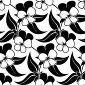 Stiefmütterchen floral schwarz isoliert nahtlose hintergrund — Stockvektor