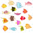 Cartoon tropical fish set — Vector de stock