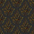 Seamless floral damask black, gold background — Imagens vectoriais em stock