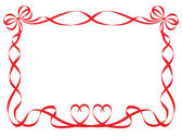 Red ribbon frame isolated on white — Cтоковый вектор