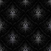 Seamless black silk wallpaper pattern — Stock Vector