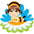 Baby Bee Girl — Stock Vector