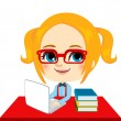 Geek Girl Student — Stock Vector
