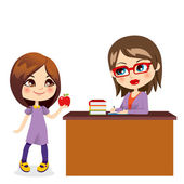 Schoolgirl And Teacher — Stock Vector