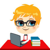 Geek Kid Student — Stock Vector