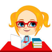 Estudiante chica geek — Vector de stock