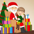 Royalty-Free Stock 矢量图片: Girl and Santa Claus