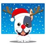 French Bulldog Reindeer — Stock Vector