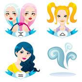 Air Zodiac Women — Stock Vector