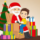 Boy and Santa Claus — Stock Vector