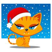 Santa Claus Cat — Stock Vector