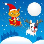 圣猫雪橇 — 图库矢量图片