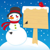Snowman Sign Post — Stockvector
