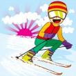 Teen Skiing Fast — Stock Vector #12640227