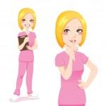 Blond Nurse Silence Sign — Stock Vector