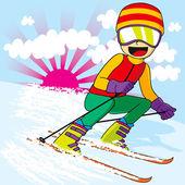 Tiener skiën snel — Stockvector