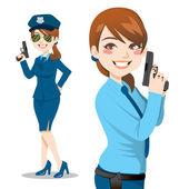 Mulher bonita de polícia — Vetorial Stock