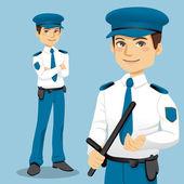 Hombre guapo policía — Vector de stock