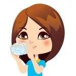 Girl Drinking Water — Stock Vector