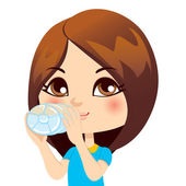 Girl Drinking Water — Stock Vector
