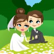 Newlyweds Sitting on Garden — Stock Vector
