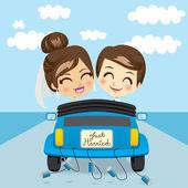 Voyage juste marié — Vecteur