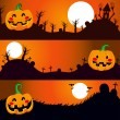 Halloween Night Banners — Stock Vector