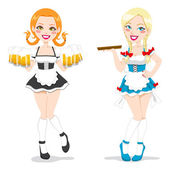 Beautiful Oktoberfest Waitresses — Stock Vector