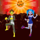 Zombie Disco Halloween Party — Stock Vector
