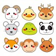 Royalty-Free Stock Vector Image: Happy Animal Faces
