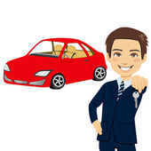 Young Automobile Salesman — Stock Vector